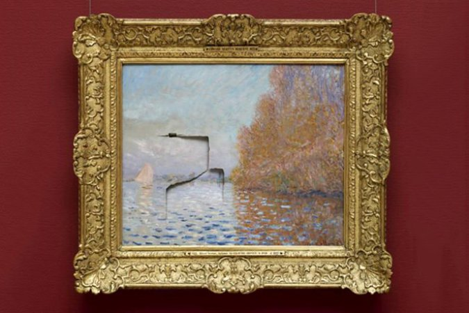 Punched Claude Monet at the National Gallery of Ireland, Image courtesy of Huh.
