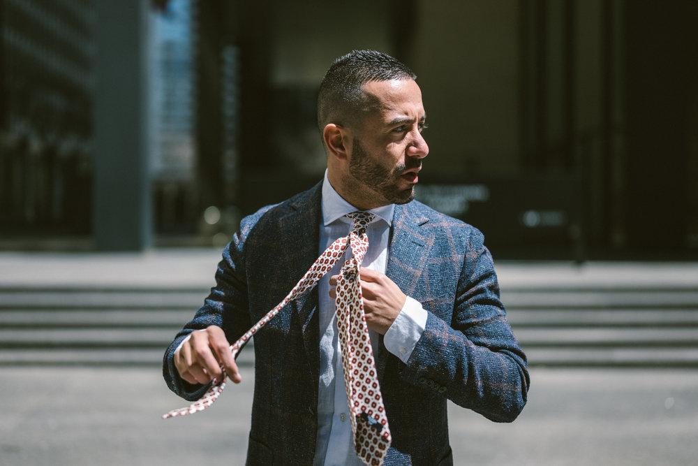 Barba Napoli deconstructed jacket, linen shirt & silk tie.