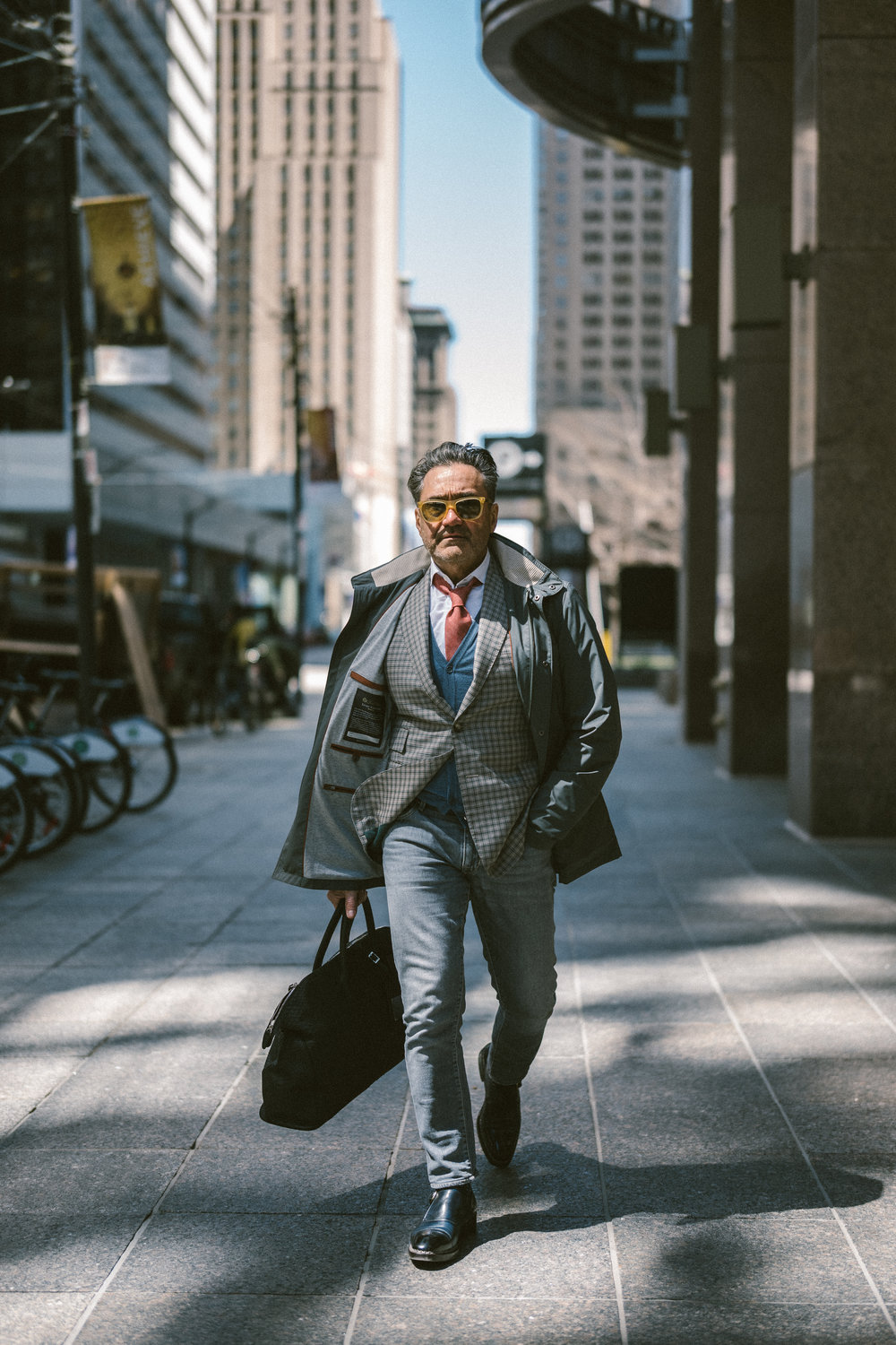 Our co-founder Santo in a Loro Piana 'Light Voyager' jacket.