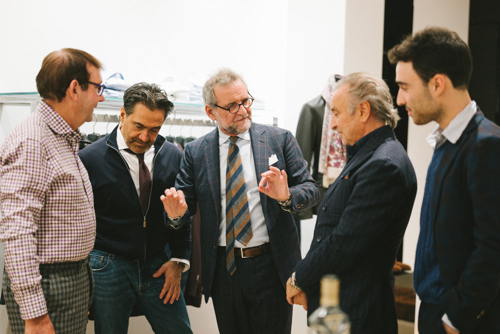 Vincenzo Attolini with Santo De Rose & Fabio Fata at our recent in shop Stile Latino trunk show.