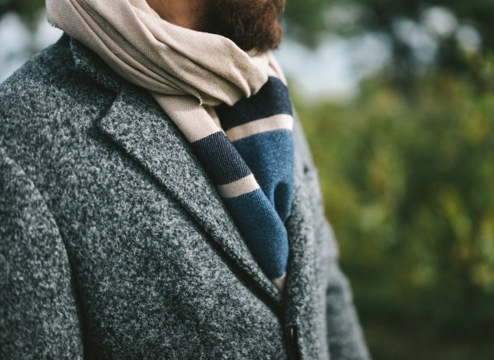 Brunello Cucinelli - Alpaca Coat. Cashmere Striped Blanket Scarf. Wool Flannel Flat Cap.