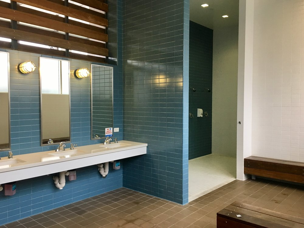The showers at the Annenberg Beach House are open to the changing area.