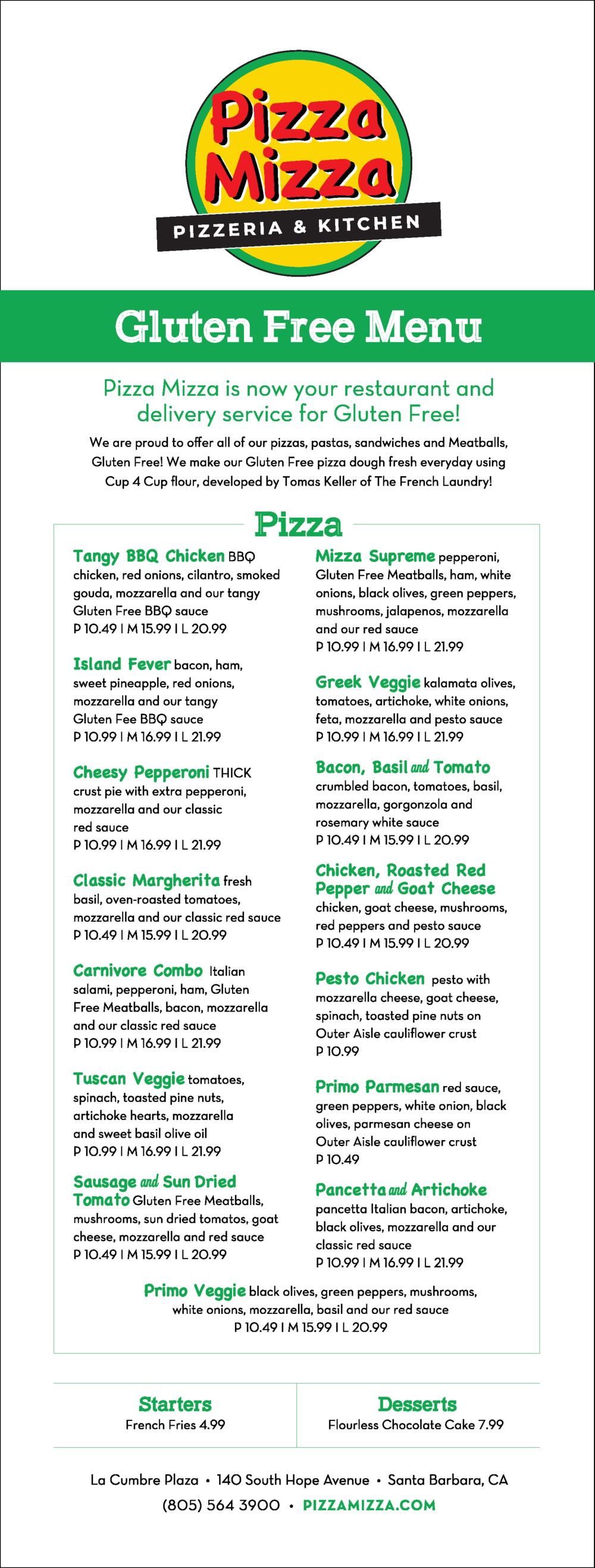Pizza Mizza Gluten Free Menu