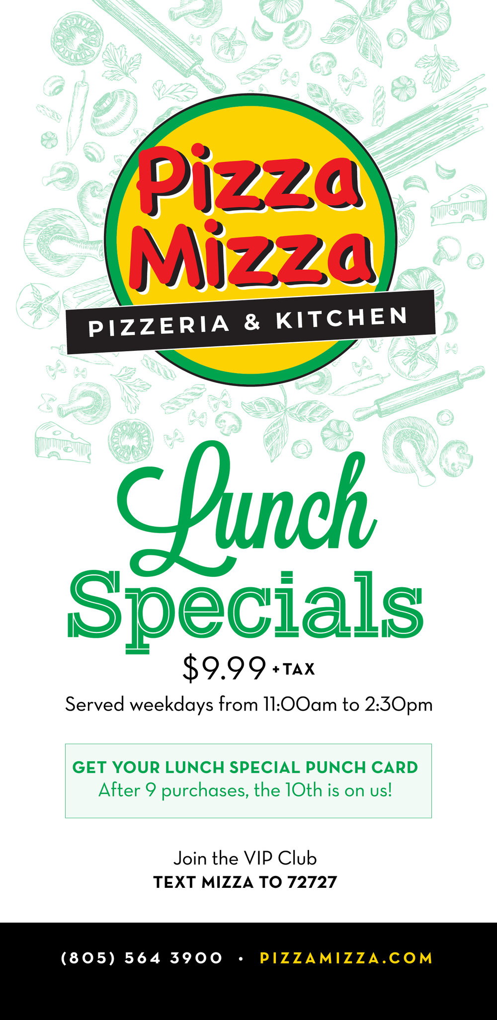 Pizza Mizza Lunch Specials Menu