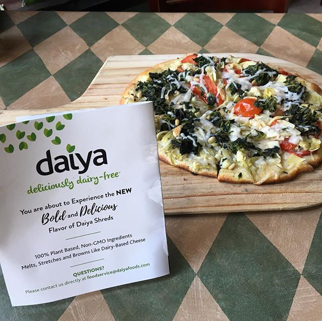 Because no one should have cheesless pizza, we are giving @daiyafoods dairy free cheese a try! Come in and let us know what you think! 😬