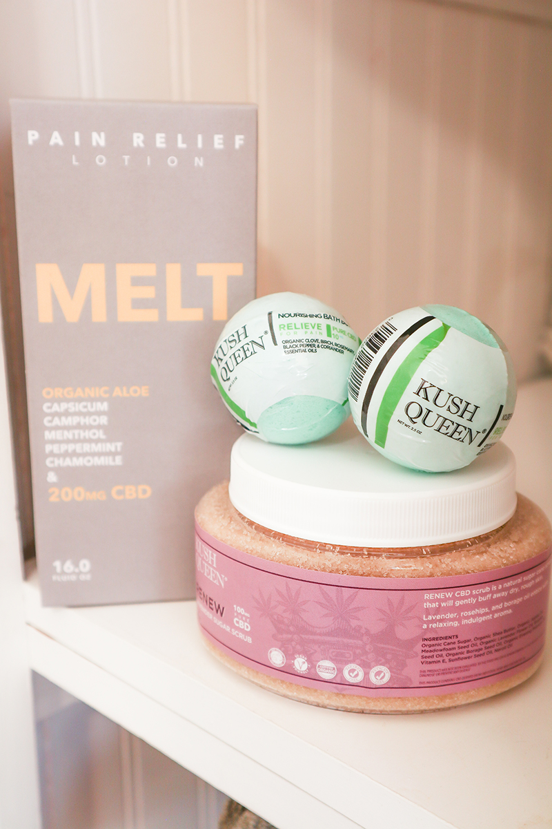 Perfect pedicure set featuring Kush Queen's CBD Sugar Scrub, two mini Relieve bath bombs with 10mg CBD, and Melt pain relief CBD lotion.