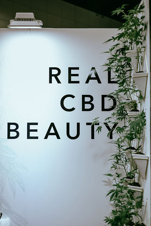 "LA BeautyCon 2019 Booth Wall reading ""Real CBD Beauty."""