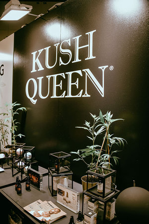 Product Display of Kush Queen CBD Products at BeautyCon.