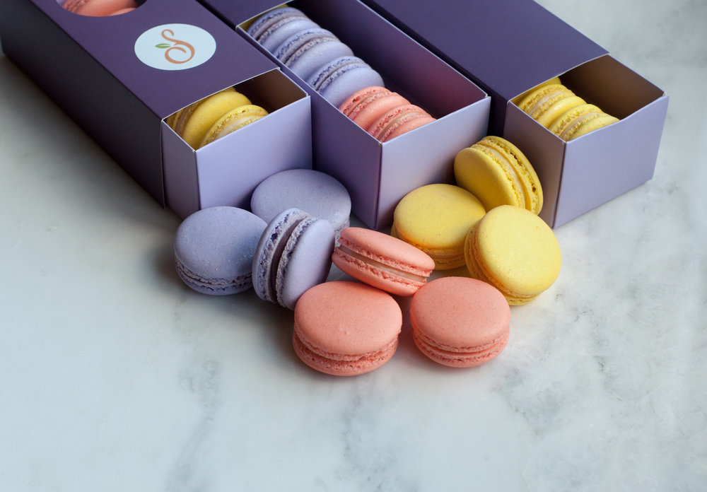Yellow Purple Peach Macarons.jpg