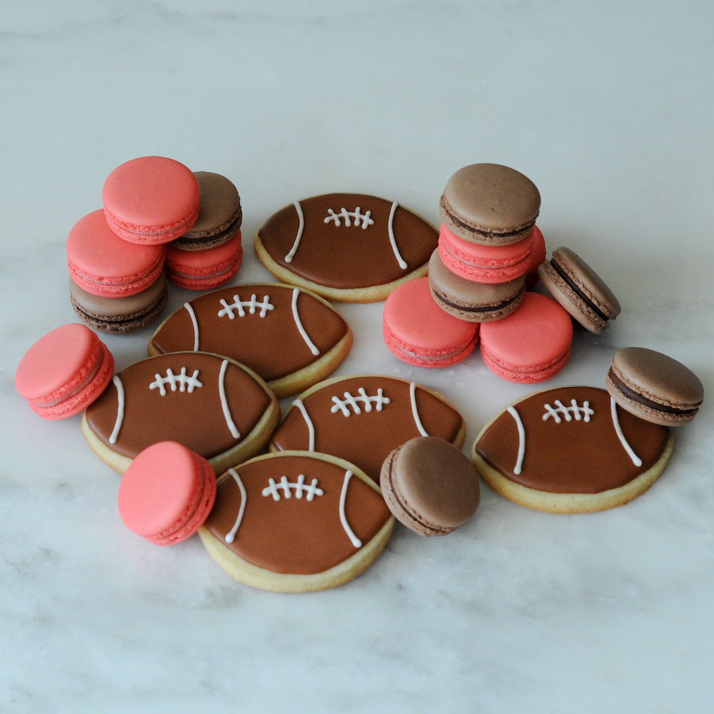 Football Sugar Cookies and Macarons.jpg