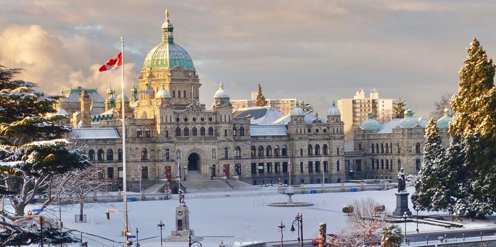 Victoria's Parliament Building in winter.  Steve Jurvetson