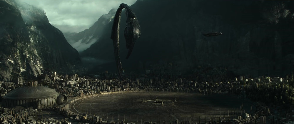 An alien spacecraft hovering above an alien world in  Alien: Covenant
