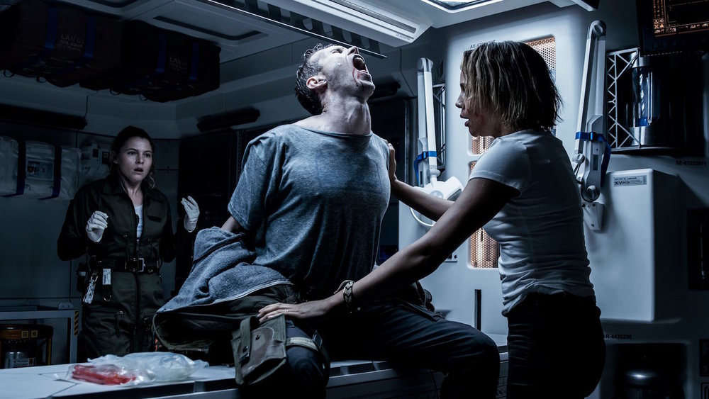 From left to right:Amy Seimetz, Benjamin Rigby, and Carmen Ejogo in  Alien: Covenant
