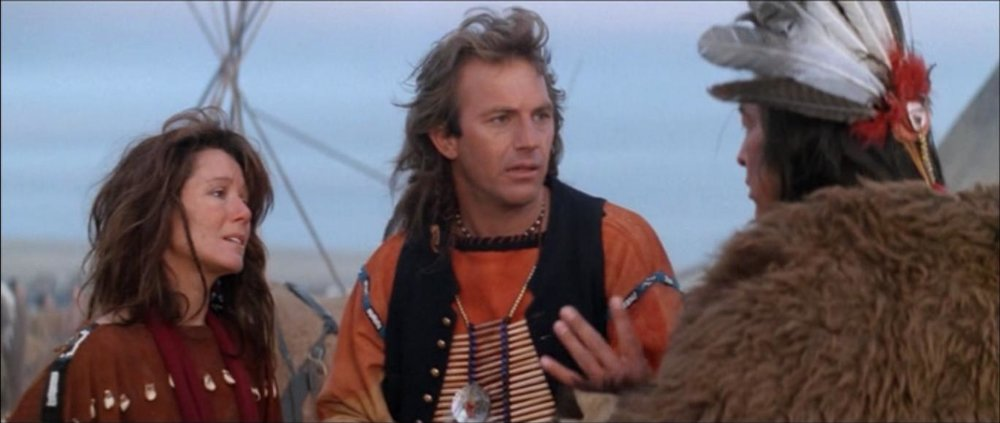 Mary McDonnell, Kevin Costner, and Graham Greene in  Dances With Wolves
