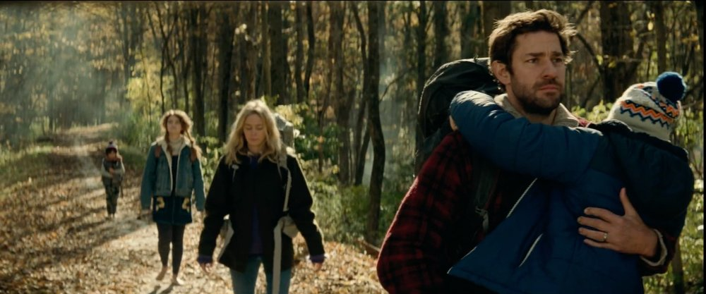 From left to right: Cade Woodward, Millicent Simmonds, Emily Blunt, John Krasinski, and Noah Jupe in  A Quiet Place