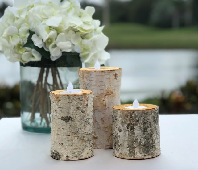 Birch Bark Log Candle Holders - Set of 3 - Votive Tea Light - Wood Rustic Chic - Wedding Centerpiece