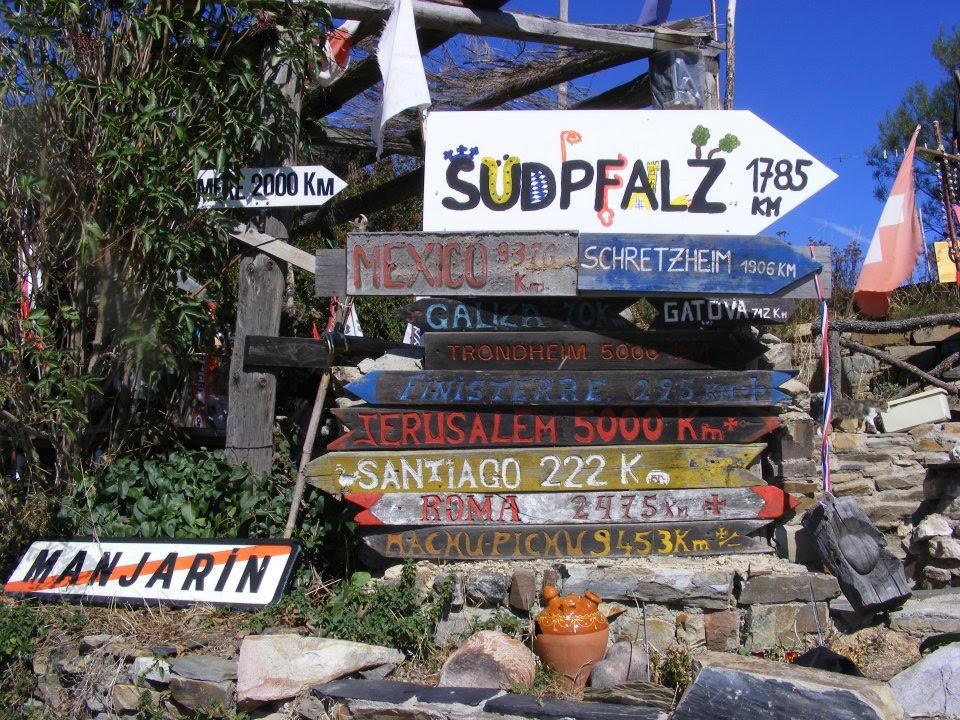 Signposts along the Camino to Santiago de Compostela