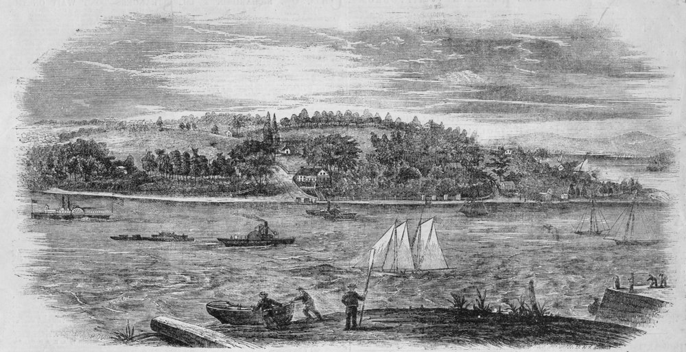 "View of Tottenville from Perth Amboy, NJ, 1853. To the right is Rutan's shipyard, one of more than a half dozen ship repair and building businesses that grew up around. the oyster industry in the 1800s. From The Town the Oyster Built: ""The shoreline...provided a deep channel for oceangoing boats to deliver timber and other products for shipbuilding and repair and a gradual beach was well-suited to this work."" Engraving from collection of SI Museum."