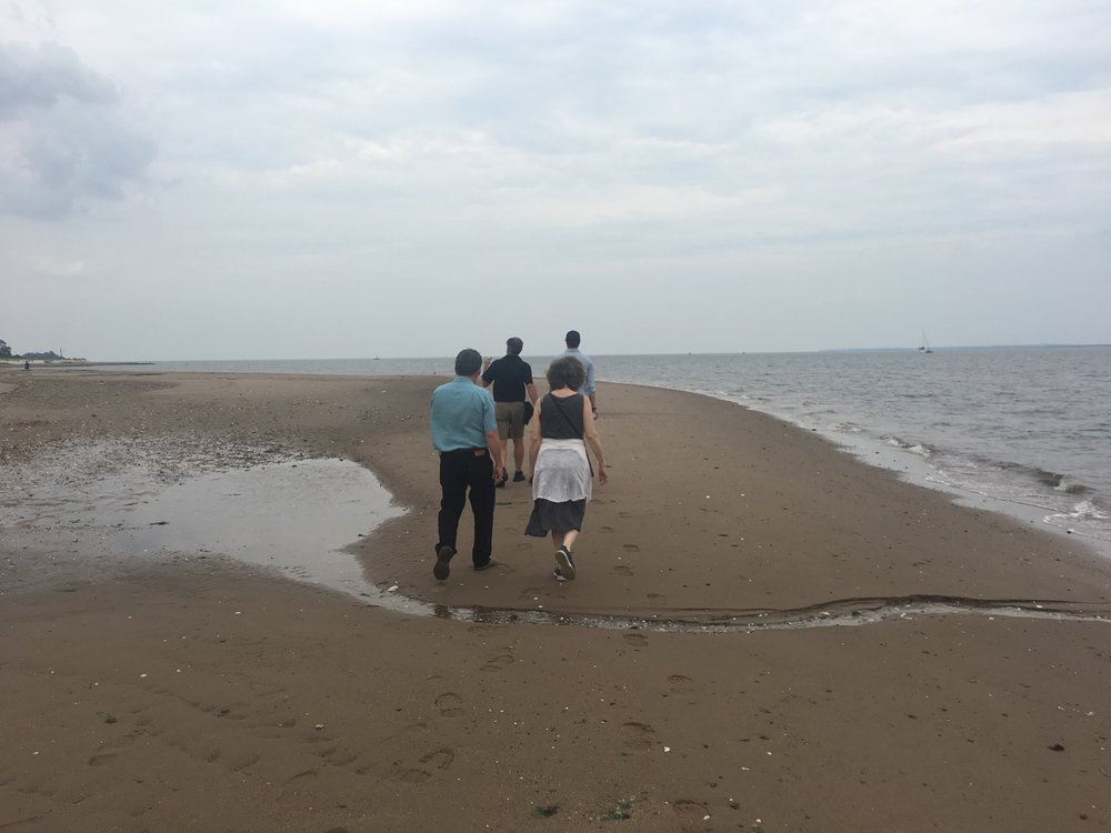 We walk along the Conference House Park shoreline to view possible site for the Tottenville acquaculture farm.