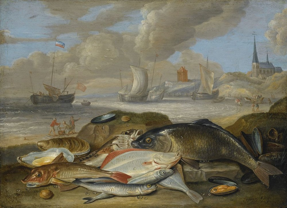Still Life of Fish in a Harbor Landscape, Jan van Kessel the Elder, 1660