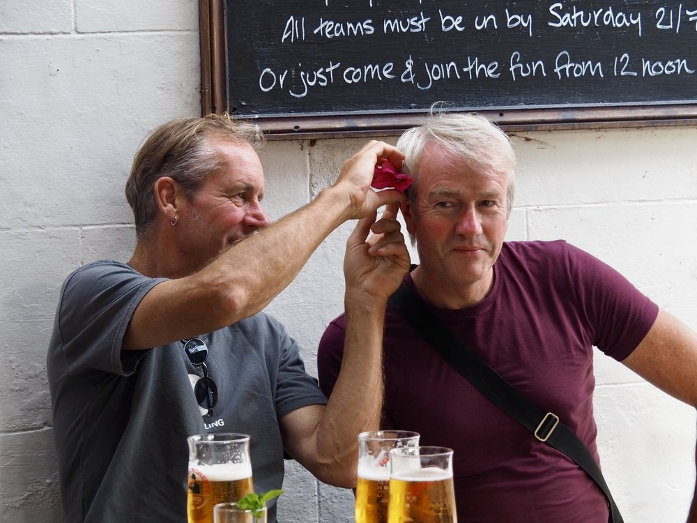 Clearly, it wasn't enough that the pubs were festooned with flowers. Colin had to make sure cousin Paul was as well.