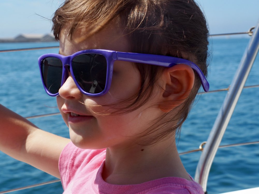 Is a boating dream being born behind those electric purple shades?