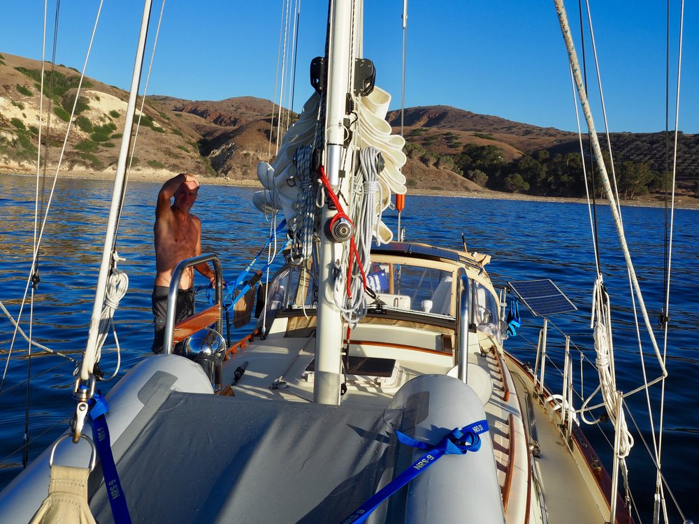The combination of a hefty southwest swell and a screaming northwesterly wind on our visit to Santa Cruz Island kept us chilling out at the one protected easterly anchorage at Smuggler's Cove, but who's complaining? Clearly not this blissed out sailor.