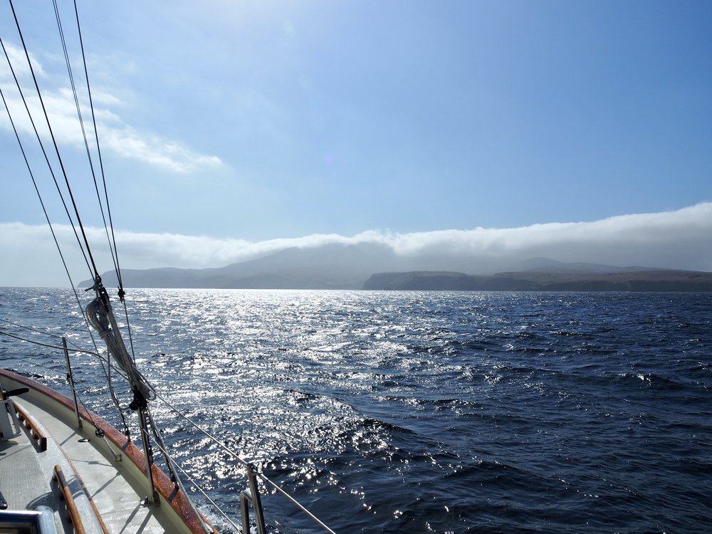 Approaching Santa Cruz Island, shrouded in mist