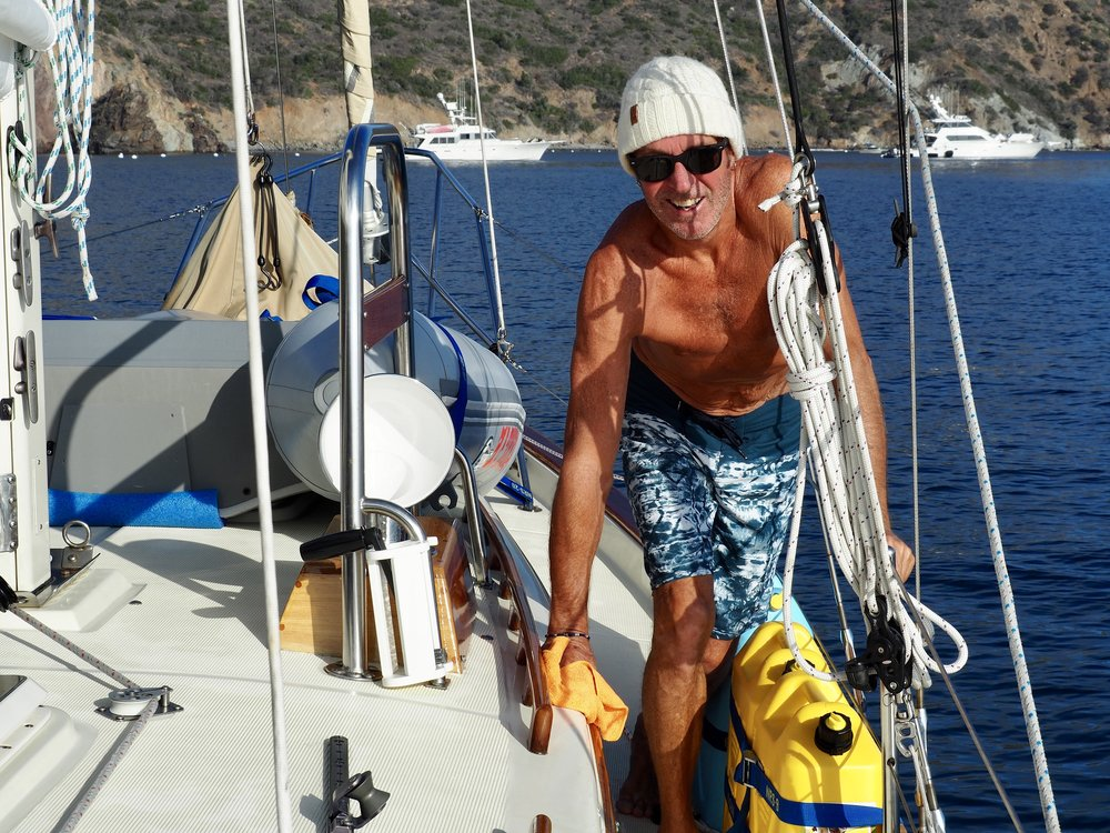 Colin has also figured out that morning dew is freely delivered fresh water, perfect for wiping the salt off the boat.