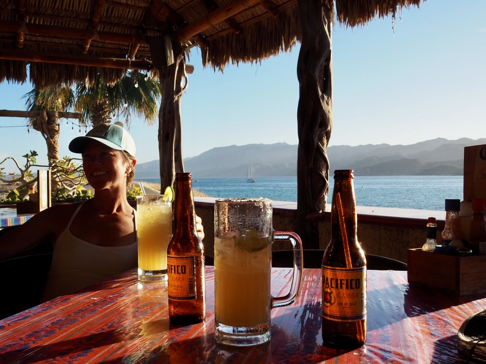 The remote anchorage of Bahia de Los Muertos with its one little beachside restaurant
