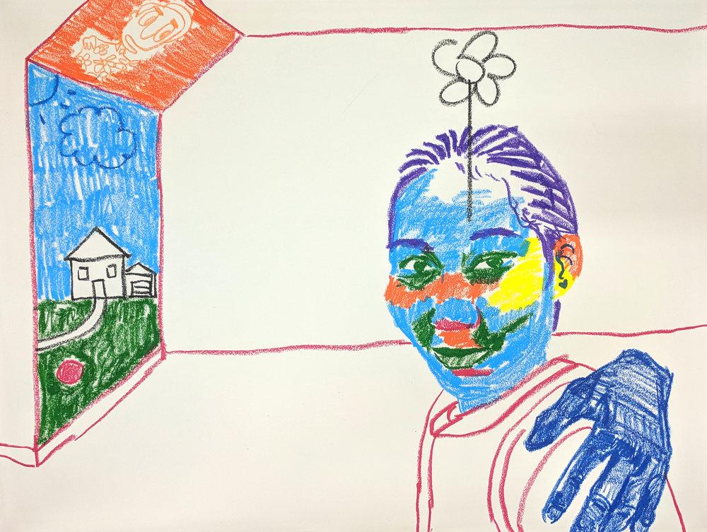 """Daddy's Girl"" 2018 (18""x24"") Crayola Smooth Stix on Paper"