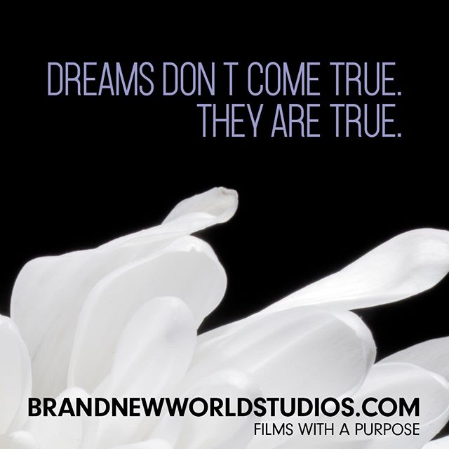 Dreams happen at night so you know what to do in the morning. Make them come true.  #dreambig #purpose #shareyourstory #brandnewworldstudios