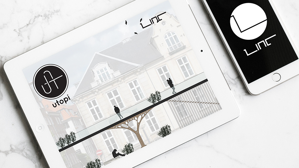 Utopi system concept presented on a iPad mini along with the LINC transit app presented on a iPhone.