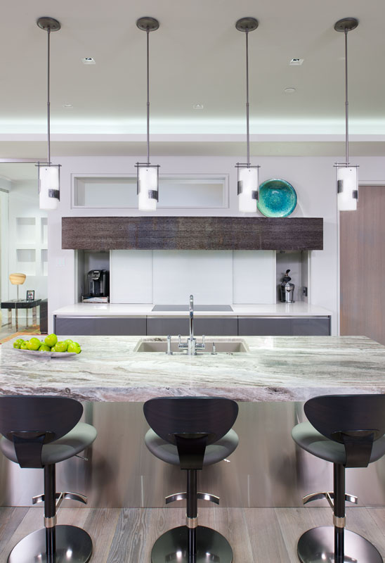 For entertaining, the open kitchen creates a nice flow, keeping the host in the midst of the party while guests enjoy ringside seats at the island. Designed by KBC Pittsburgh.