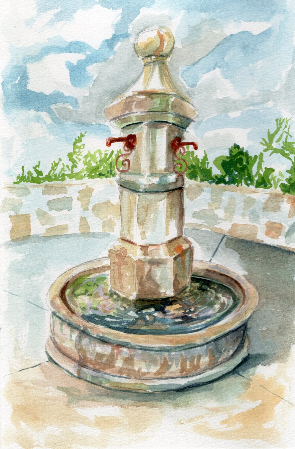 Rogeru0027s Gardens Fountain Courtyard Watercolor