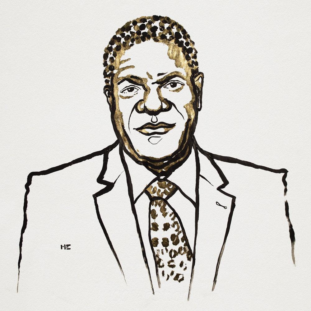 Denis Mukwege. Illustration: Niklas Elmehed