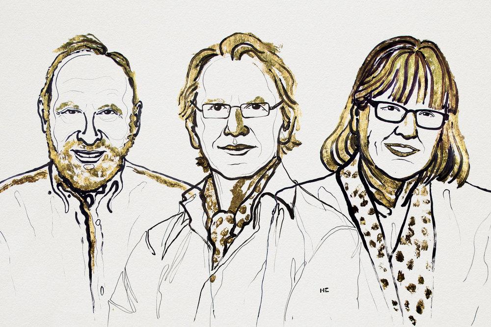 Arthur Ashkin, Gérard, Mourou och Donna Strickland. Illustration: Niklas Elmehed