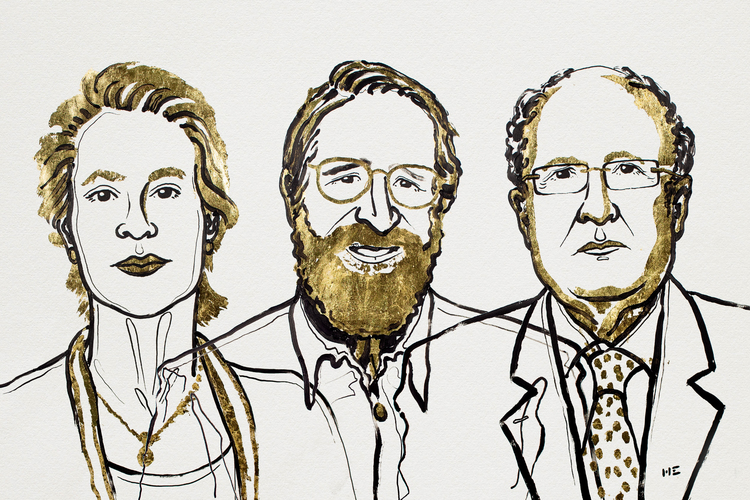 Frances H. Arnold, George P. Smith och Sir Gregory P. Winter. Illustration: Niklas Elmehed
