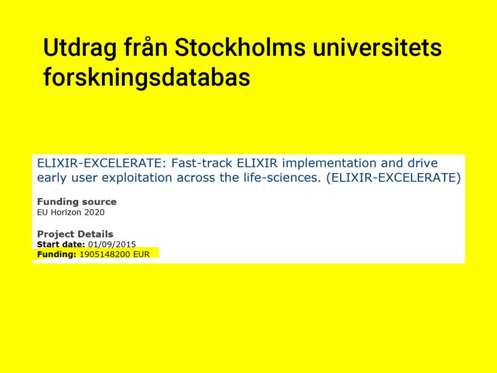 Hur mycket av den andelen som gått till SU framgår inte i CORDIS, men det är i alla fall inte 1 905 148 200 Euro, som det står i forskningsdatabasen. -