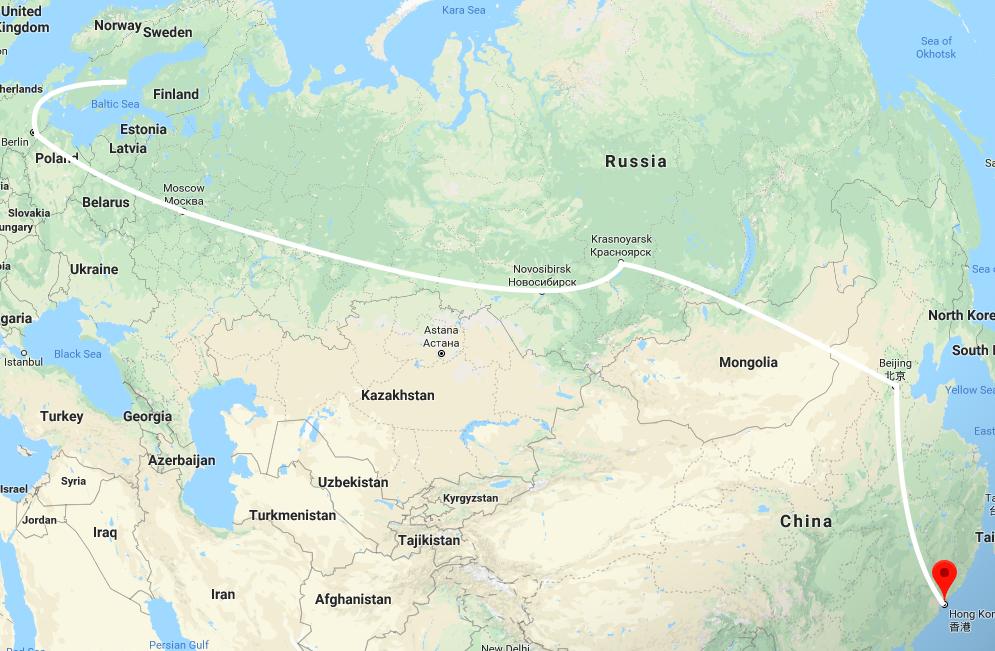 Amandas väg till Hongkong - Amanda planerar att åka transmongoliska järnvägen från Moskva med stopp i Mongoliet och Kina. Förmodligen kommer resan inledas med tåg från Stockholm till Moskva via Tyskland och Polen – färjan raka spåret till Moskva är en koldioxidbov som Amanda drar sig för. Totalt räknar Amanda med att vara på resande fot i tre veckor.