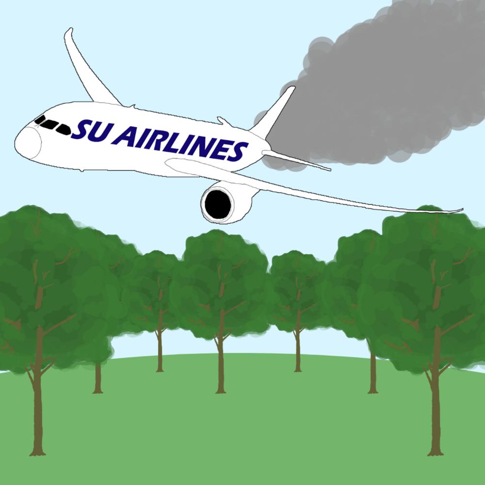 """SU:s koldioxidutsläpp från flyg* - 2018: 4 559 ton2017: 4 394 ton2016: 4 050 tonFör att neutralisera 4500 ton koldioxid behövs 4500 träd.*Från underlaget till Naturvårdsverkets årliga rapport """"Utsläppen av koldioxid från Sveriges myndigheters tjänsteresor och transporter""""."""