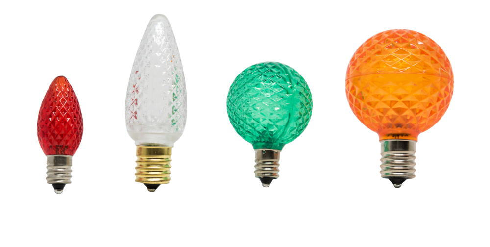 Left to right: LED-C7-RED, LED-C9-SWW, LED-G40-GRN, LED-G50-ORG