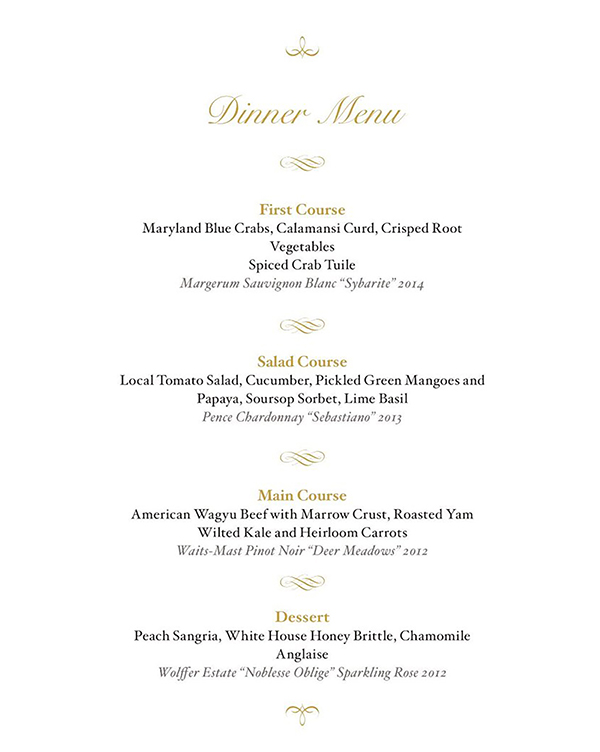 Preview menu for White House State Dinner for Singapore. Photo: Eddie Gehman Kohan/Obama Foodorama