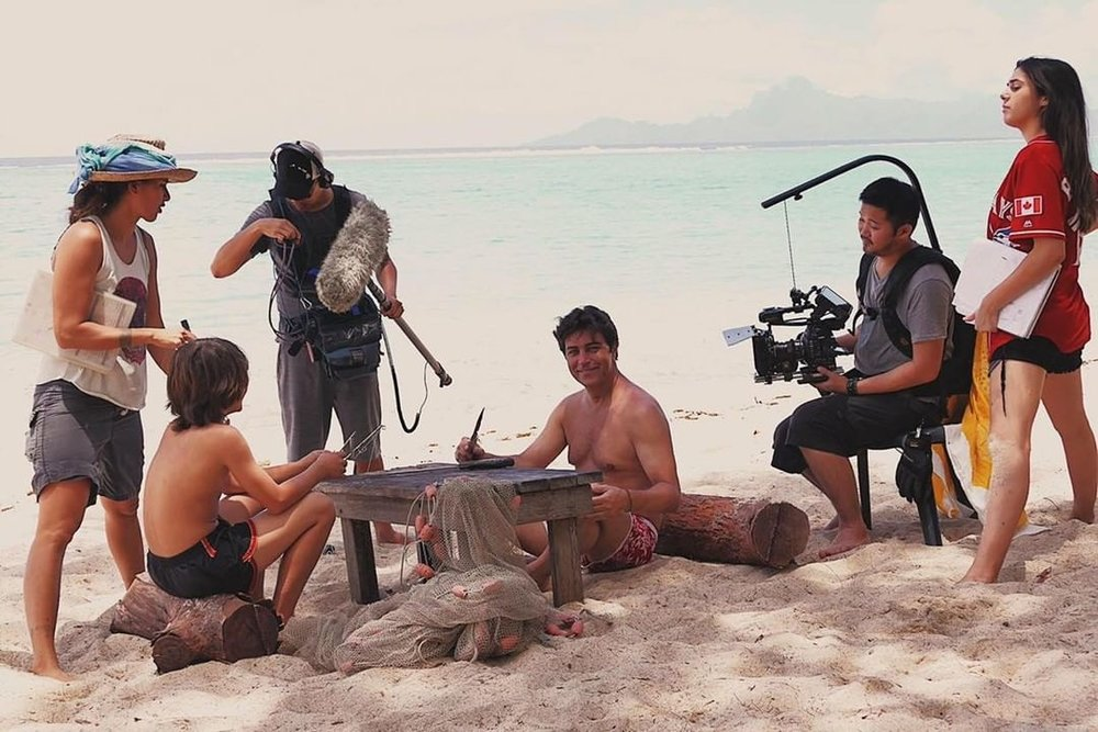 Tatiana Shanks (right) and her crew shooting Far Away Places in Punaauia, Tahiti in 2017.