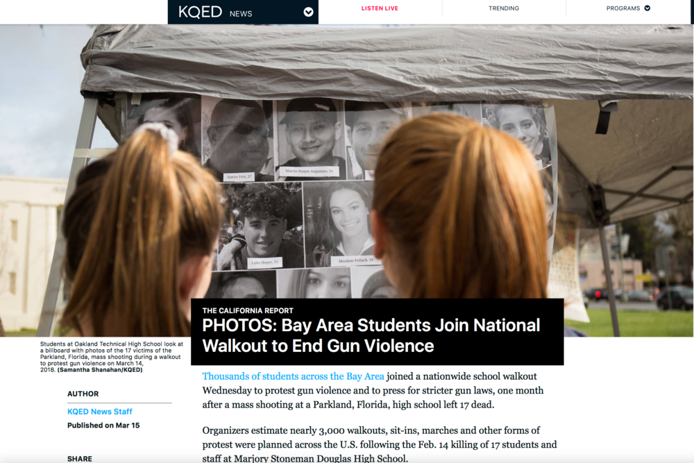 (KQED) Bay Area Students Join National Walkout to End Gun Violence