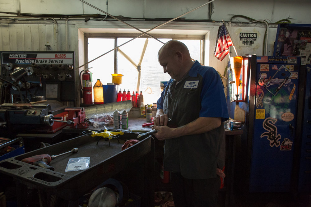 Rob, a master technician at a Ford dealership in Lake Geneva, Wisconsin, returns to the service department after a back surgery put him out of work for three months.