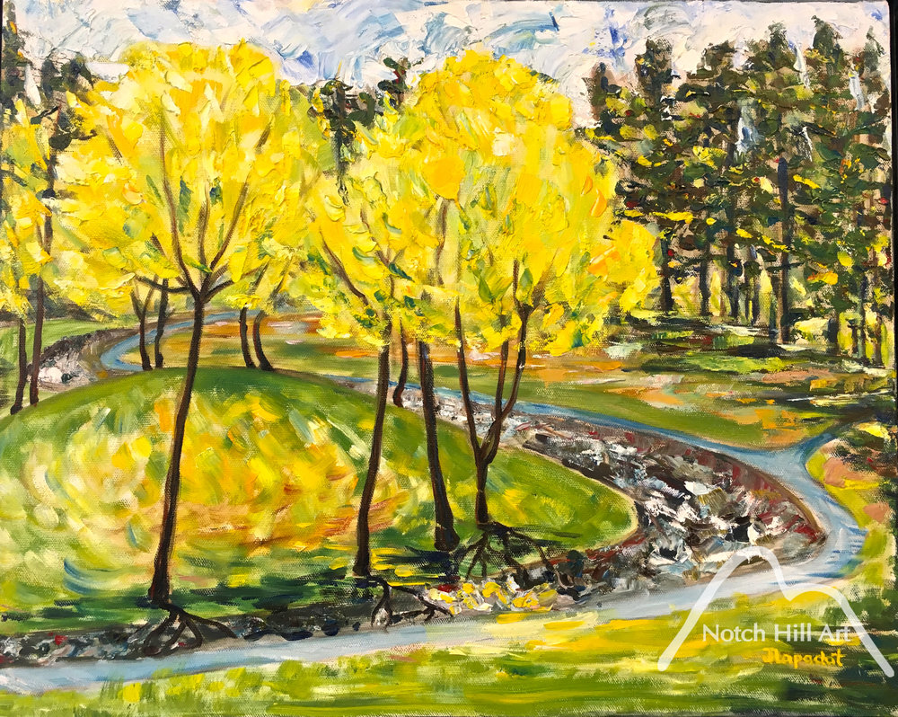 Leafing Out in Rainbow Park	Oil