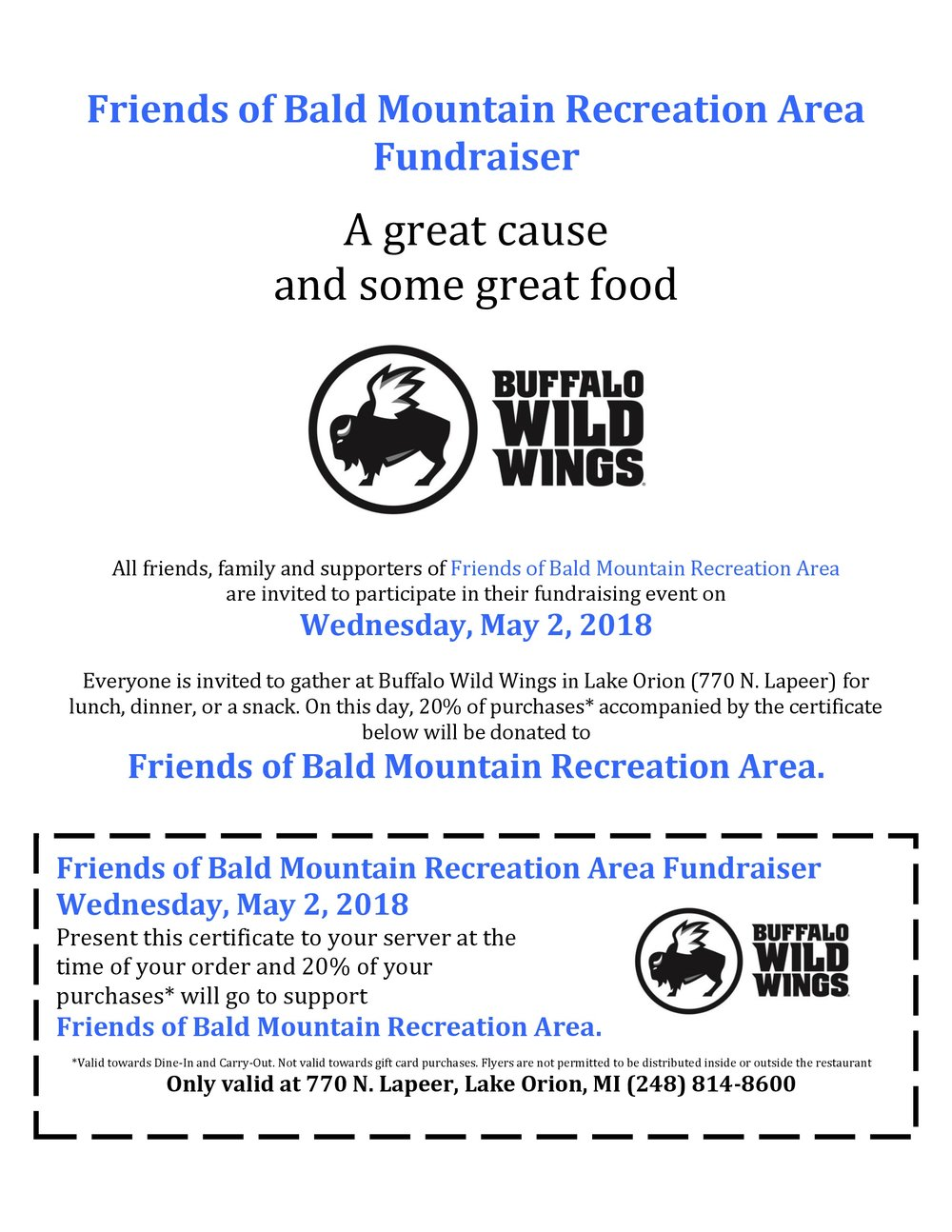 Dine to Donate @ Buffalo Wild Wings Lake Orion — Friends of Bald ...
