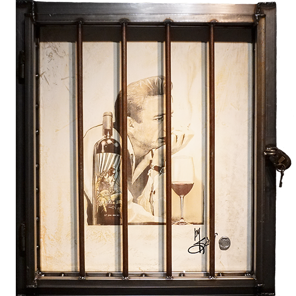 """If You See Kay""  by Scotty Ziegler  While you may not picture the Man in Black sipping a glass of cabernet, we are confident that if he did, it would be from a bottle of If You See Kay   Acrylic on etched Venetian plaster.  Custom steel frame and lock included. 34″ x 30″ #/12   Contact the gallery for pricing"