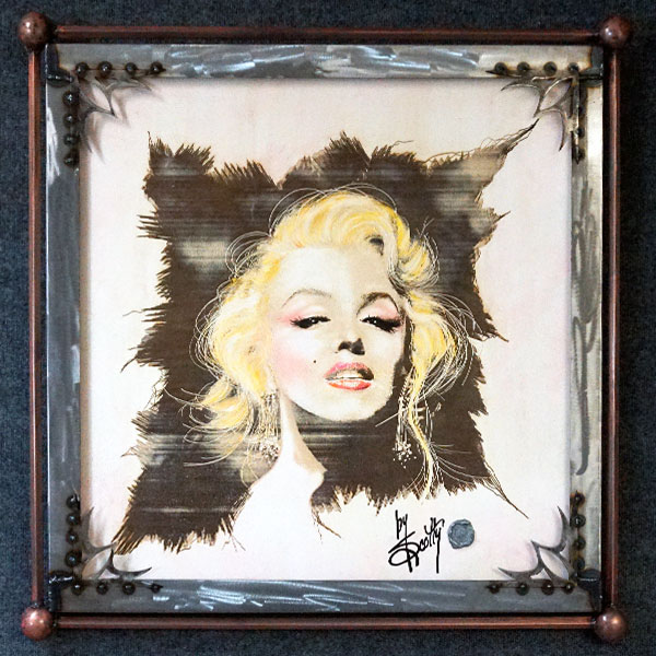 """She Blushed""  by Scotty Ziegler  ""An American icon deserves to be displayed in the most elegant fashion…Venetian plaster. It's Marilyn like you should have always seen her.""   Acrylic on etched Venetian plaster.  Custom steel frame included. 34″ x 34″ #/12   Contact the gallery for pricing"